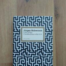 Libros de segunda mano: CARTA AL PAPA. CONSIDERACIONES SOBRE LA FE. JÜRGEN HABERMAS.. Lote 194561223