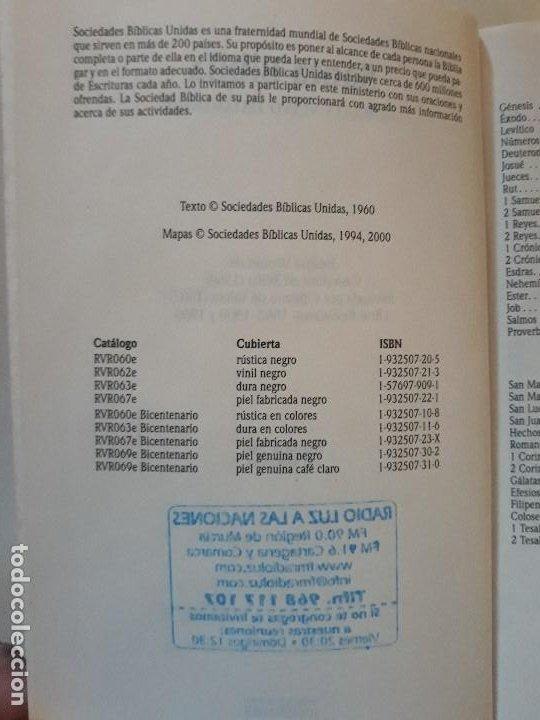 Libros de segunda mano: LA SANTA BIBLIA: REINA-VALERA 1960. SOCIEDADES BÍBLICAS UNIDAS - Foto 3 - 195052048