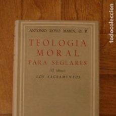 Libros de segunda mano: TEOLOGÍA MORAL PARA SEGLARES. TOMO II. LOS SACRAMENTOS. ROYO MARÍN. BIBLIOTECA AUTORES CRISTIANOS.. Lote 195214848