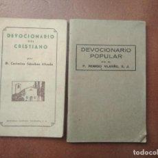 Libros de segunda mano: LOTE DE 2 LIBRITOS RELIGIOSOS, DEVOCIONARIO DEL CRISTIANO Y DEVOCIONARIO POPULAR. Lote 195221078