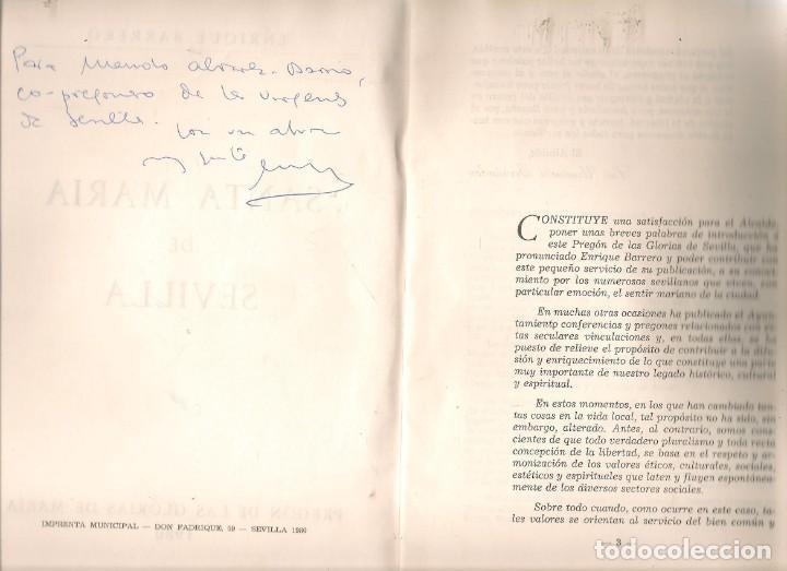 Libros de segunda mano: SEMANA SPREGÓN DE LAS GLORIAS DE MARÍA 1980. SANTA MARIÁ DE SEVILLA. ENRIQUE BARRERO. (P/C32) - Foto 2 - 195379792
