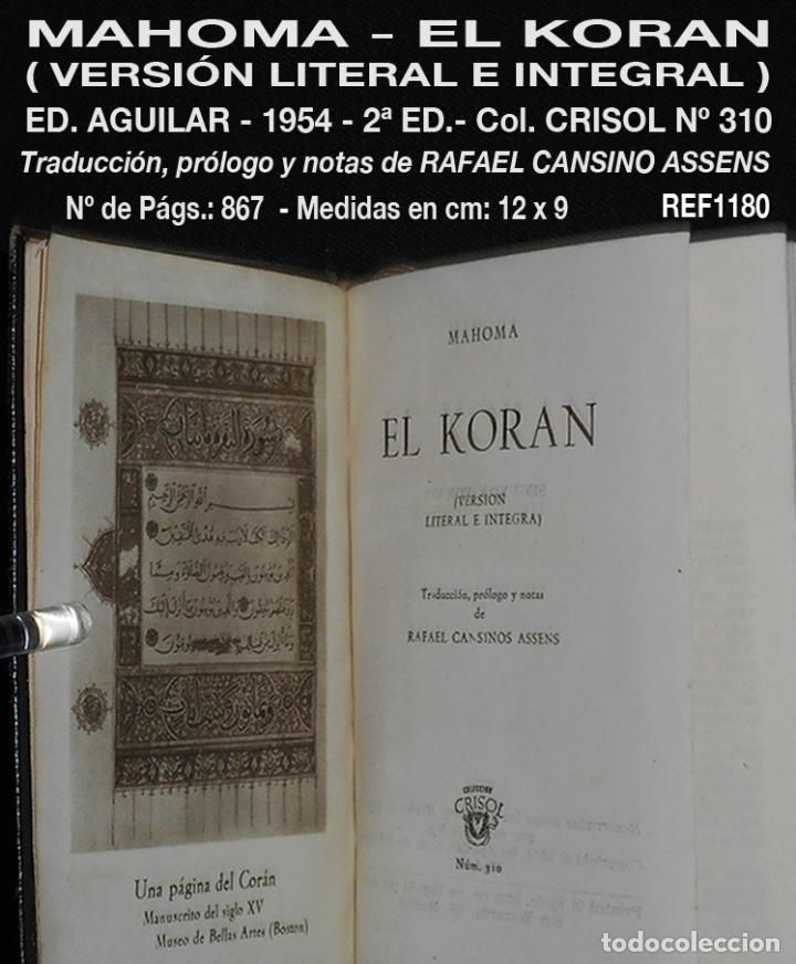 PCBROS - KORAN - VERSIÓN LITERAL E INTEGRAL - AGUILAR - COL. CRISOL Nº 310 - ED. - 2ª.- 1954 (Libros de Segunda Mano - Religión)