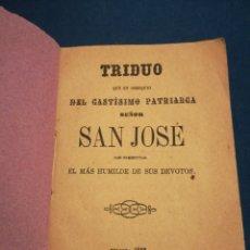 Libros de segunda mano: TRIDIU EN HONOR A SAN JOSÉ IMPRENTA DE CEA TOLEDO 1882. Lote 195513866