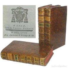 Libros de segunda mano: 1758 - PIERRE-FRANÇOIS LAFITAU: SERMONES DE CUARESMA - 3 TOMOS DEL SIGLO XVIII - ENCUADERNACIÓN. Lote 200797580