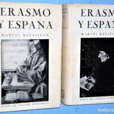 Libros de segunda mano: ERASMO Y ESPAÑA. ESTUDIOS SOBRE LA VIDA ESPIRITUAL.DEL SIGLO XVI. 2 TOMOS. Lote 200804753