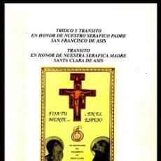 Libros de segunda mano: TRIDUO Y TRANSITO HONOR NUESTROS SERAFICOS SAN FRANCISCO DE ASIS Y SANTA CLARA. LUIS RUIZ GUTIERREZ.. Lote 206533740