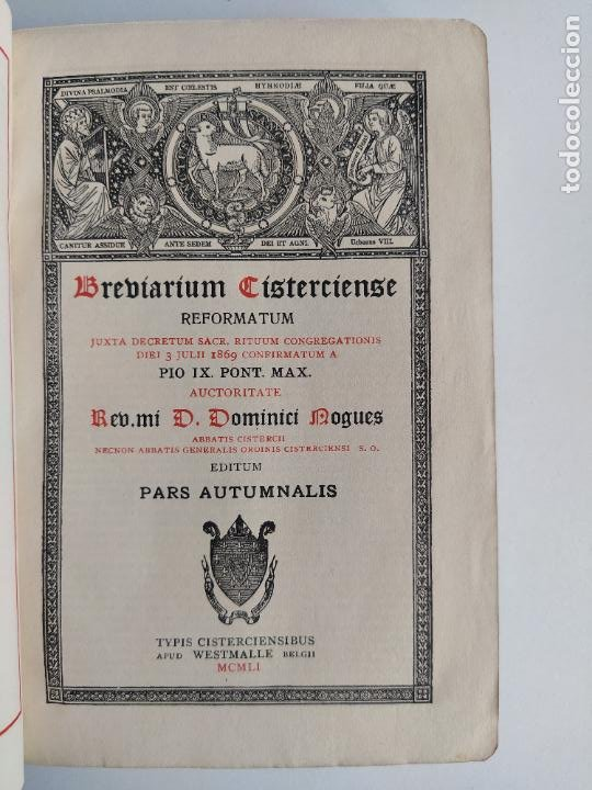 BREVIARIUM CISTERCIENSE PARS AUTMNALIS 1951 (Libros de Segunda Mano - Religión)