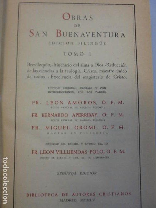 Libros de segunda mano: OBRAS DE SAN BENAVENTE. 6 TOMOS. BIBLIOTECA DE AUTORES CRISTIANOS. 2º Y 3ª EDICION - Foto 8 - 218007376
