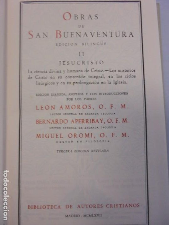 Libros de segunda mano: OBRAS DE SAN BENAVENTE. 6 TOMOS. BIBLIOTECA DE AUTORES CRISTIANOS. 2º Y 3ª EDICION - Foto 22 - 218007376