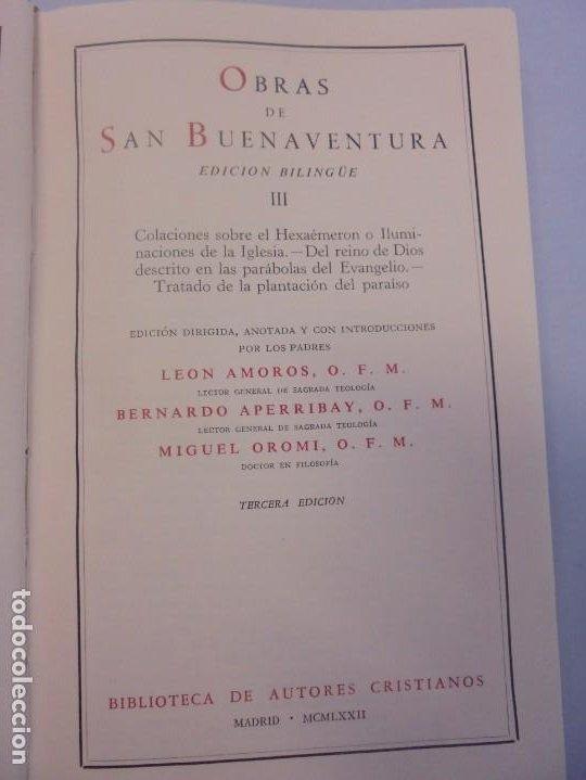 Libros de segunda mano: OBRAS DE SAN BENAVENTE. 6 TOMOS. BIBLIOTECA DE AUTORES CRISTIANOS. 2º Y 3ª EDICION - Foto 35 - 218007376