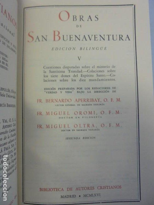 Libros de segunda mano: OBRAS DE SAN BENAVENTE. 6 TOMOS. BIBLIOTECA DE AUTORES CRISTIANOS. 2º Y 3ª EDICION - Foto 60 - 218007376