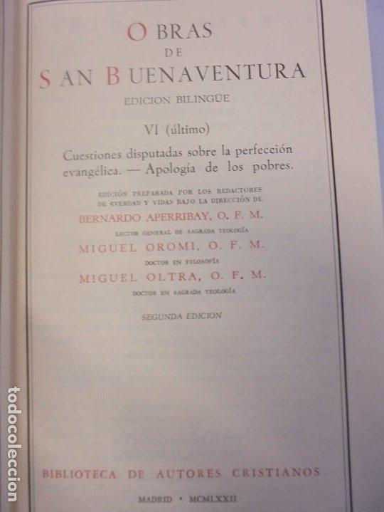 Libros de segunda mano: OBRAS DE SAN BENAVENTE. 6 TOMOS. BIBLIOTECA DE AUTORES CRISTIANOS. 2º Y 3ª EDICION - Foto 78 - 218007376