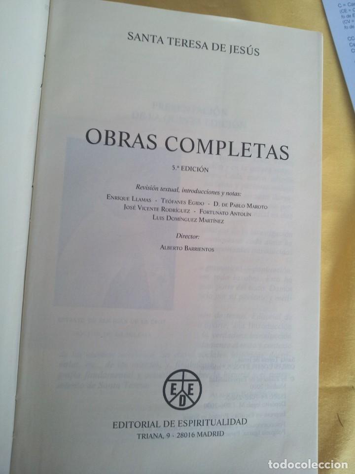 Libros de segunda mano: SANTA TERESA DE JESUS - OBRAS COMPLETAS - 5ª EDICION, EDITORIAL DE ESPIRITUALIDAD 2000 - Foto 3 - 220929238