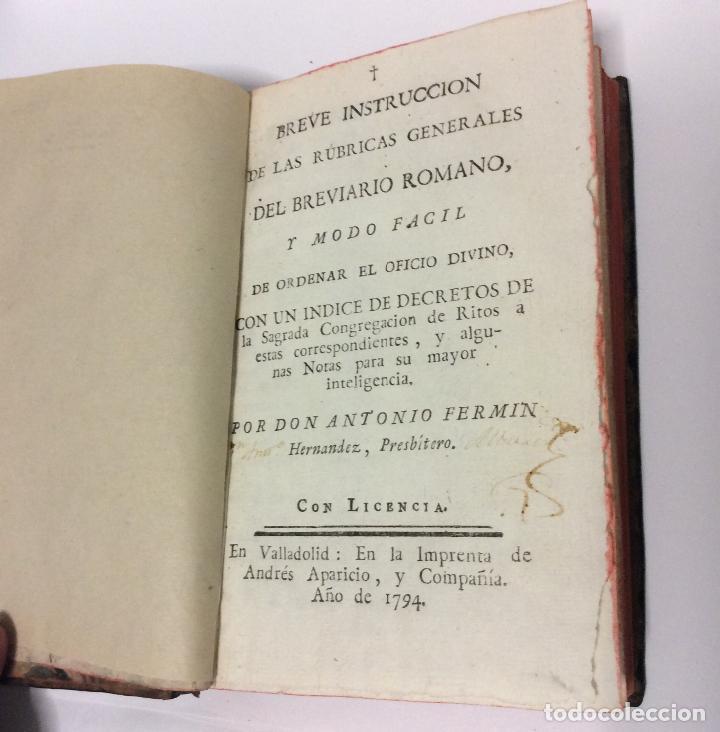 Libros de segunda mano: BREVE INSTRUCCIÓN DE LAS RÚBRICAS GENERALES DEL BREVIARIO ROMANO Y MODO DE ORDENADOR EL OFICIO, 1794 - Foto 2 - 223999083