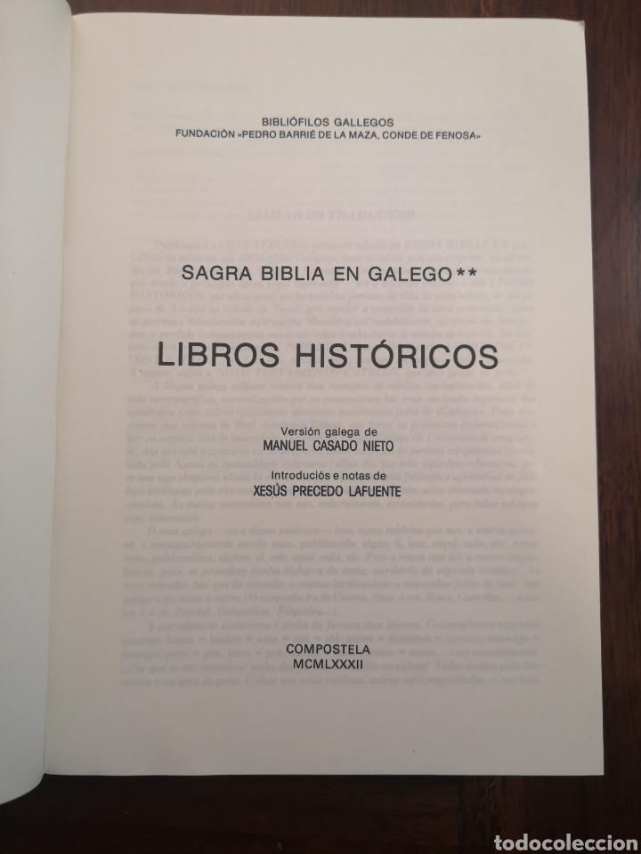 Libros de segunda mano: Sagrada Biblia en Galego (Gallego) Libros Históricos 1982 primera edición - Foto 5 - 229720275