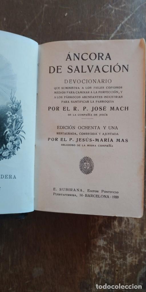 ANCORA DE SALVACIÓN-DEVOCIONARIO-R.P.JOSÉ MACH-BARCELONA 1929, PYMY 3 (Libros de Segunda Mano - Religión)