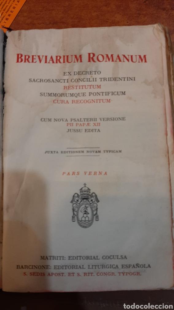 BREVIARIUM ROMANUN PARS VERNA RELIGIOSO FILATELIA COLISEVM LIBRERIA ANTIGÜEDADES (Libros de Segunda Mano - Religión)