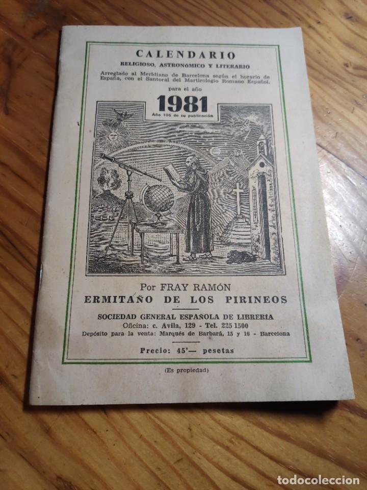 CALENDARIO - RELIGIOSO ASTRONOMICO Y LITERARIO - AÑO 1981 (Libros de Segunda Mano - Religión)
