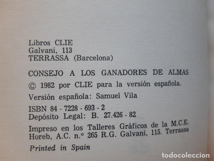 Libros de segunda mano: CONSEJO A LOS GANADORES DE ALMAS Horatius Bonar Clie 1982 EVANGELICO EVANGELISMO - Foto 7 - 243311785