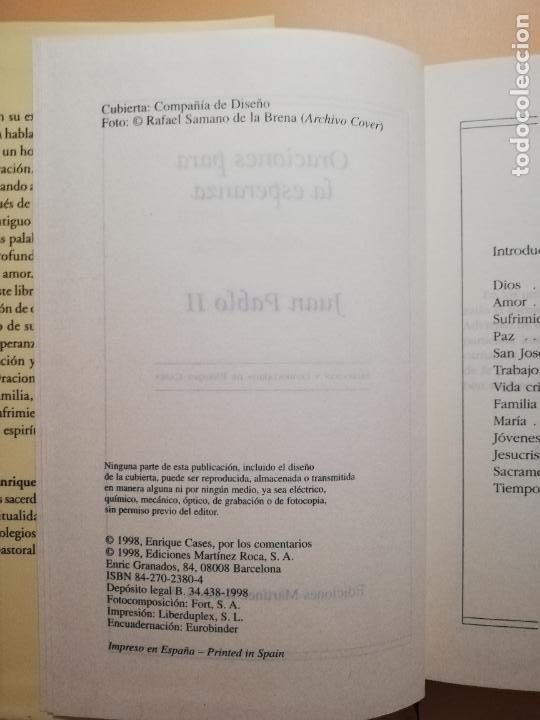 Libros de segunda mano: ORACIONES PARA LA ESPERANZA. JUAN PABLO II. EDICIONES MARTINEZ ROCA. 1998. PAG. 280. - Foto 3 - 245393230