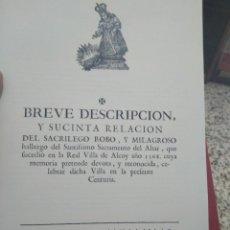 Livros em segunda mão: FACSIMIL SACRILEGO ROBO Y HALLAZGO DEL SANTÍSIMO SACRAMENTO JESUSET DEL MIRACLE DE ALCOY. Lote 260677205