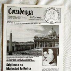 Libros de segunda mano: COVADONGA INFORMA, NÚM. 188, OCTUBRE 1994.. Lote 262910220