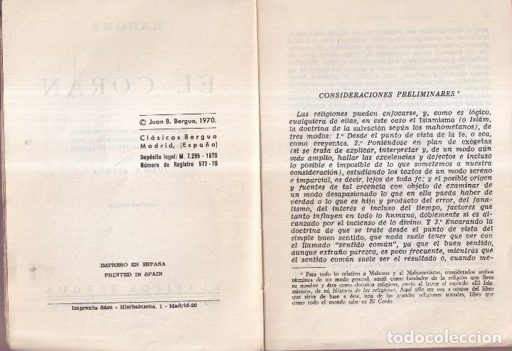 Libros de segunda mano: EL CORÁN - EDICIÓN DE JUAN B. BERGUA - CLÁSICOS BERGUA 1970 - Foto 2 - 277750243