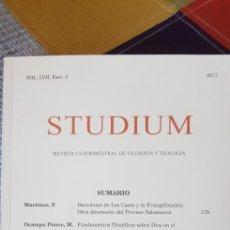 Libros de segunda mano: LIBRO STUDIUM (VOL. LVII, FASC. 2, AÑO 2017). Lote 280813828