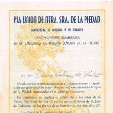 Libros de segunda mano: 1944 PÍA UNIÓN DE NTRA. SRA. DE LA PIEDAD INVITACIÓN PERSONALIZADA A LOS ACTOS - IGUALADA. Lote 293866458