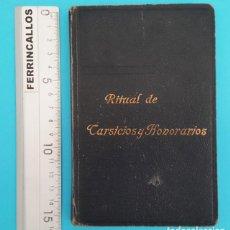 Libros de segunda mano: RITUAL DE TARSICIOS Y HONORARIOS, ADORACION NOCTURNA, TIRUAL PARA ADORADORES HONORARIOS 1961 224 PAG. Lote 296801118