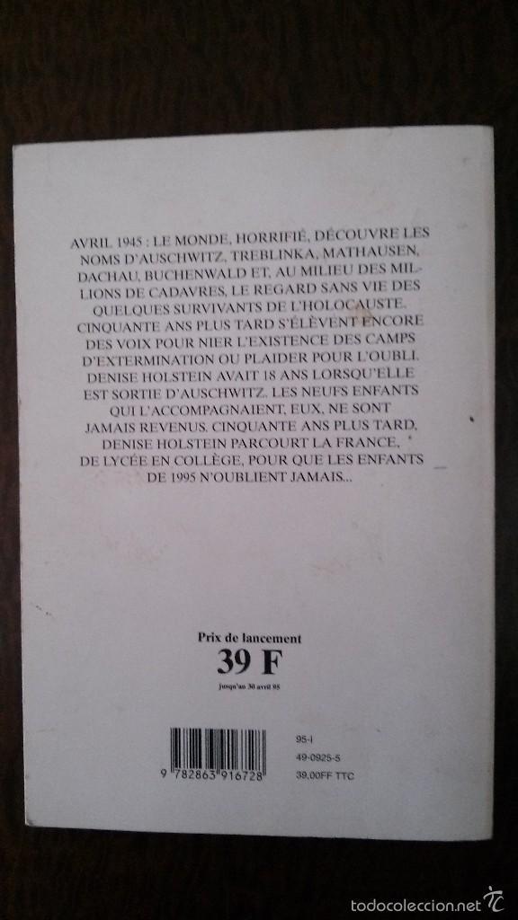 Libros de segunda mano: JE NE VOUS OUBLIERAI JAMAIS, MES ENFANTS D´AUSCHWITZ-DENISE HOLSTEIN-(VER FOTOS)-HOLOCAUSTO - Foto 2 - 56224603