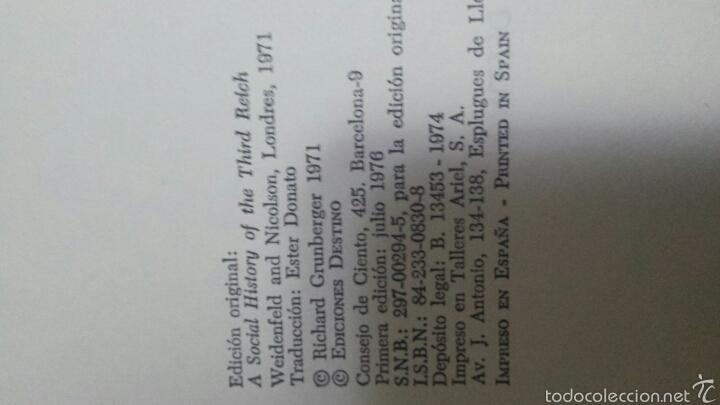 Libros de segunda mano: HISTORIA SOCIAL DEL TERCER REICH - RICHARD GRUN-BERGER - EDICIONES DESTINO AÑO 1974 - Foto 3 - 58501924