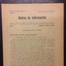Libros de segunda mano: BOLETIN INFORMACION EMBAJADA ALEMANIA EN MADRID, 1940, NUM 7, EXCLUSIVO AUTORIDADES. Lote 119127091