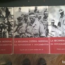 Libros de segunda mano: LA SEGUNDA GUERRA MUNDIAL EN FOTOGRAFÍAS Y DOCUMENTOS EN 3 TOMOS. PLAZA - JANES 1973. Lote 166303102