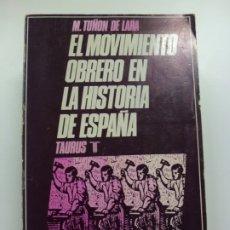 Libros de segunda mano: EL MOVIMIENTO OBRERO EN LA HISTORIA DE ESPAÑA. M. TUÑÓN DE LARA. TAURUS. 1972.. Lote 172476664