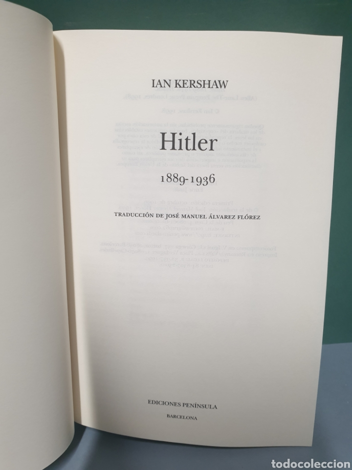 Libros de segunda mano: Ian Kershaw Hitler 1889 - 1936 Editorial Península Atalaya - Foto 2 - 221959016