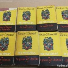 Libros de segunda mano: MEMORIAS LA SEGUNDA GUERRA MUNDIAL DE WINSTON S. CHURCHILL (8 TOMOS) 1ª EDICION 1949. Lote 227847245