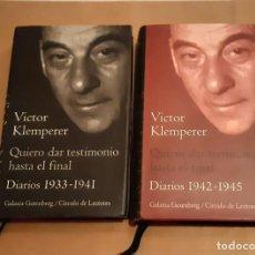Libros de segunda mano: VICTOR KLEMPERER QUIERO DAR TESTIMONIO HASTA EL FINAL DIARIOS 2 TOMOS. Lote 278430603
