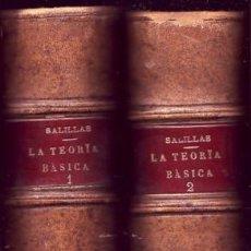 Libros de segunda mano: LA TEORÍA BÁSICA (BIO-SOCIOLOGIA). RAFAEL SALILLAS. . Lote 26718018