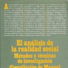 Libros de segunda mano: EL ANÁLISIS DE LA REALIDAD SOCIAL. MÉTODOS Y TÉCNICAS DE INVESTIGACIÓN.GARCIA FERRANDO, IBAÑEZ Y ALV. Lote 27302921