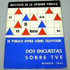 Libros de segunda mano: DOS ENCUENTAS SOBRE TVE MADRID 1965 INSTITUTO OPINIÓN PÚBLICA EL PÚBLICO OPINA SOBRE TELEVISIÓN. Lote 19919906