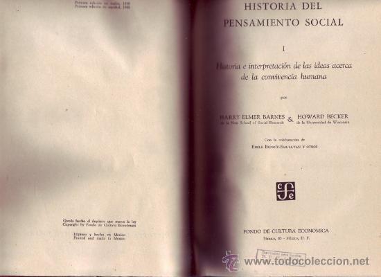 HISTORIA DEL PENSAMIENTO SOCIAL. BARNES, HARRY ELMER Y BECKER, HOWARD. DOS TOMOS. (Libros de Segunda Mano - Pensamiento - Sociología)