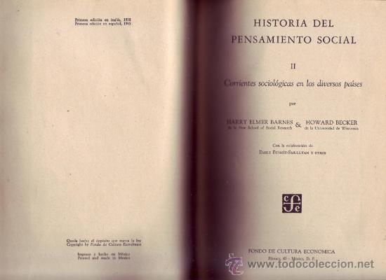 Libros de segunda mano: Historia del pensamiento social. BARNES, Harry Elmer y BECKER, Howard. Dos tomos. - Foto 2 - 29785648