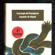 Libros de segunda mano: SOCIOLOGÍA DEL FRANQUISMO, AMANDO DE MIGUEL, EDITORIAL EUROS, BARCELONA 1975, 368PÁG, 20X14CM. Lote 29895930