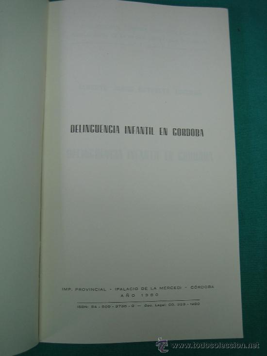 Libros de segunda mano: Delincuencia Infantil en Cordoba por Alberto Revuerta 1980 - Foto 2 - 31128302