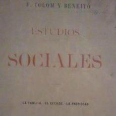 Libros de segunda mano: ESTUDIOS SOCIALES. TOMO 1: LA FAMILIA. EL ESTADO. LA PROPIEDAD (MADRID, 1984). Lote 32367014