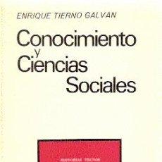 Libros de segunda mano: CONOCIMIENTO Y CIENCIAS SOCIALES /// ENRIQUE TIERNO GALVÁN. Lote 32697840