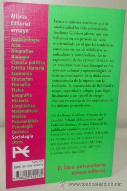 Libros de segunda mano: CONSECUENCIAS DE LA MODERNIDAD (de ANTHONY GIDDENS) ALIANZA (1999) ! - Foto 2 - 35122095