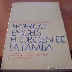 Libros de segunda mano: EL ORIGEN DE LA FAMILIA (FEDERICO ENGELS) (LE5) . Lote 36413459