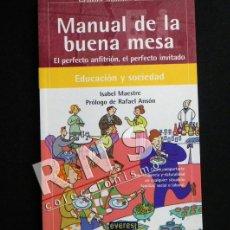 Libros de segunda mano: MANUAL DE LA BUENA MESA ,PERFECTO ANFITRIÓN / INVITADO - EDUCACIÓN SOCIEDAD ISABEL MAESTRE LIBRO. Lote 36669074